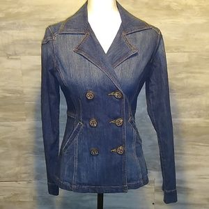 CAbi Double Breasted Jean Jacket Size XS